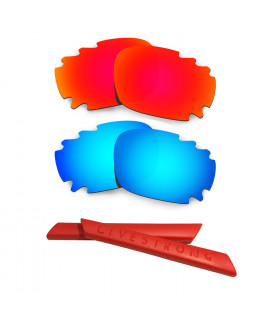 HKUCO Red/Blue Polarized Replacement Lenses plus Red Earsocks Rubber Kit For Oakley Racing Jacket Vented