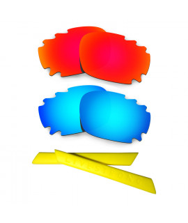 HKUCO Red/Blue Polarized Replacement Lenses plus Yellow Earsocks Rubber Kit For Oakley Racing Jacket Vented