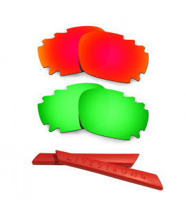 HKUCO Red/Green Polarized Replacement Lenses plus Red Earsocks Rubber Kit For Oakley Racing Jacket Vented