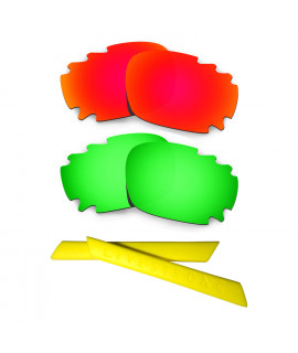 HKUCO Red/Green Polarized Replacement Lenses plus Yellow Earsocks Rubber Kit For Oakley Racing Jacket Vented