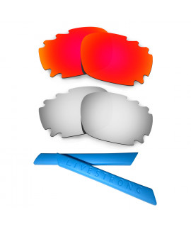 HKUCO Red/Titanium Polarized Replacement Lenses plus Blue Earsocks Rubber Kit For Oakley Racing Jacket Vented