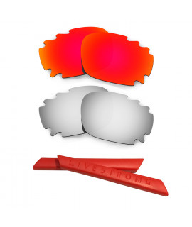 HKUCO Red/Titanium Polarized Replacement Lenses plus Red Earsocks Rubber Kit For Oakley Racing Jacket Vented