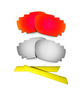 HKUCO Red/Titanium Polarized Replacement Lenses plus Yellow Earsocks Rubber Kit For Oakley Racing Jacket Vented