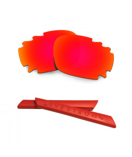 HKUCO Red Polarized Replacement Lenses plus Red Earsocks Rubber Kit For Oakley Jawbone Vented