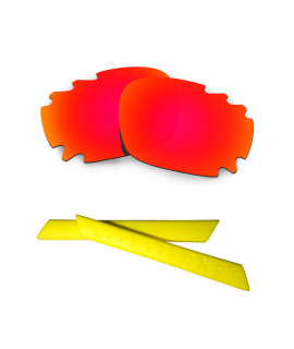 HKUCO Red Polarized Replacement Lenses plus Yellow Earsocks Rubber Kit For Oakley Racing Jacket Vented
