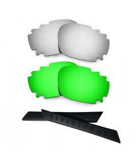 HKUCO Silver/Green Polarized Replacement Lenses plus Black Earsocks Rubber Kit For Oakley Racing Jacket Vented