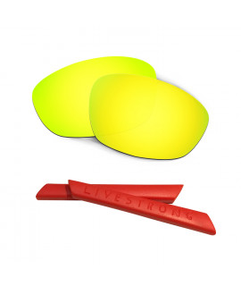 HKUCO Silver Polarized Replacement Lenses plus Yellow Earsocks Rubber Kit For Oakley Straight Jacket£¨2007 vpWtOK