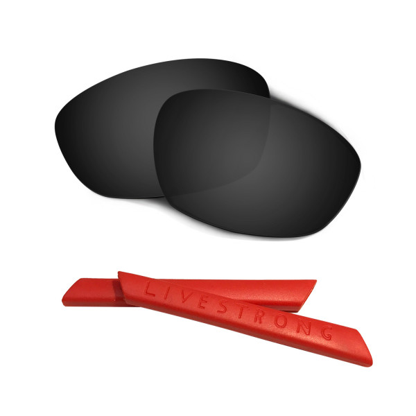 HKUCO Black Polarized Replacement Lenses plus Red Earsocks Rubber Kit For Oakley Straight Jacket(2007)