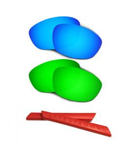 HKUCO Blue/Green Polarized Replacement Lenses plus Red Earsocks Rubber Kit For Oakley Straight Jacket(2007)