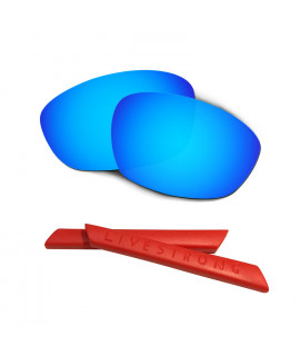 HKUCO Blue Polarized Replacement Lenses plus Red Earsocks Rubber Kit For Oakley Straight Jacket(2007)