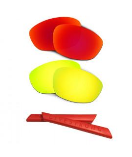HKUCO Red/24K Gold Polarized Replacement Lenses plus Red Earsocks Rubber Kit For Oakley Straight Jacket(2007)