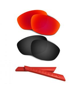 HKUCO Red/Black Polarized Replacement Lenses plus Red Earsocks Rubber Kit For Oakley Straight Jacket(2007)