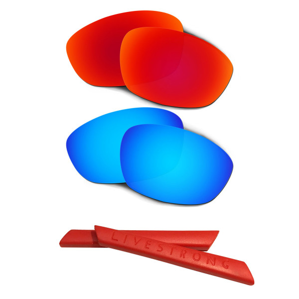 HKUCO Red/Blue Polarized Replacement Lenses plus Red Earsocks Rubber Kit For Oakley Straight Jacket(2007)