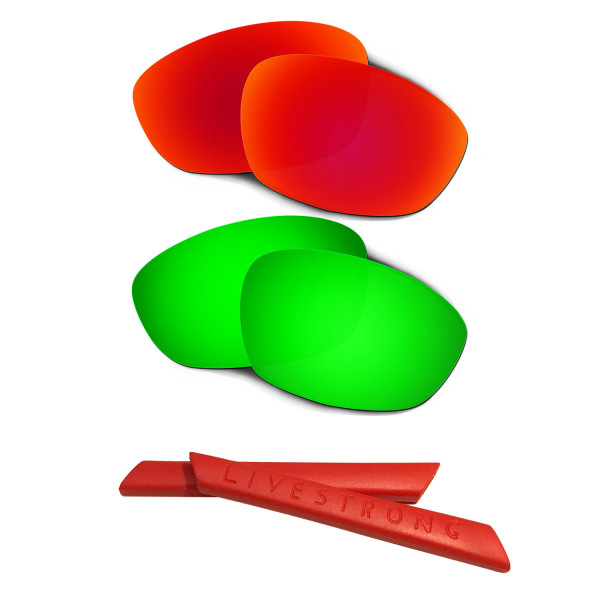 HKUCO Red/Green Polarized Replacement Lenses plus Red Earsocks Rubber Kit For Oakley Straight Jacket(2007)