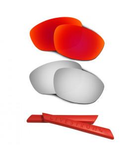 HKUCO Red/Titanium Polarized Replacement Lenses plus Red Earsocks Rubber Kit For Oakley Straight Jacket(2007)