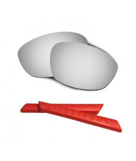 HKUCO Silver Polarized Replacement Lenses plus Red Earsocks Rubber Kit For Oakley Straight Jacket(2007)