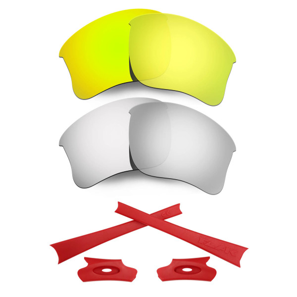 HKUCO For Oakley Flak Jacket XLJ 24K Gold/Silver Polarized Replacement Lenses And Red Earsocks Rubber Kit