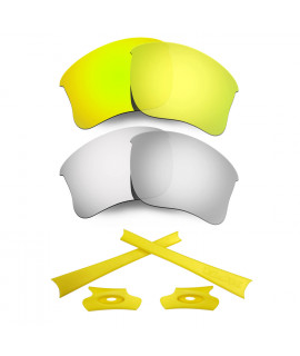 HKUCO For Oakley Flak Jacket XLJ 24K Gold/Silver Polarized Replacement Lenses And Yellow Earsocks Rubber Kit