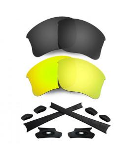HKUCO For Oakley Flak Jacket XLJ Black/24K Gold Polarized Replacement Lenses And Black Earsocks Rubber Kit