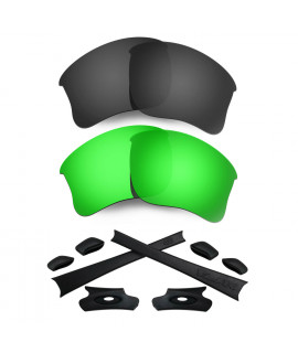 HKUCO For Oakley Flak Jacket XLJ Black/Green Polarized Replacement Lenses And Black Earsocks Rubber Kit