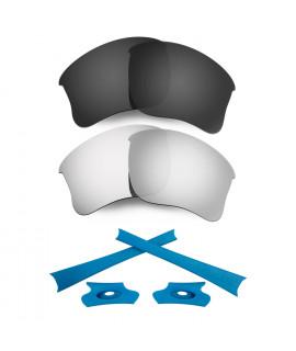 HKUCO For Oakley Flak Jacket XLJ Black/Silver Polarized Replacement Lenses And Blue Earsocks Rubber Kit