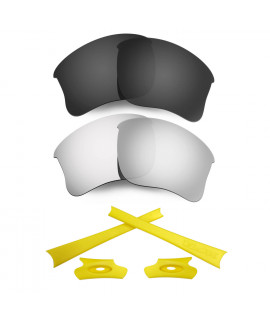 HKUCO For Oakley Flak Jacket XLJ Black/Silver Polarized Replacement Lenses And Yellow Earsocks Rubber Kit