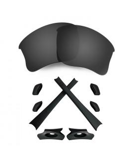 HKUCO For Oakley Flak Jacket XLJ Black Polarized Replacement Lenses And Black Earsocks Rubber Kit