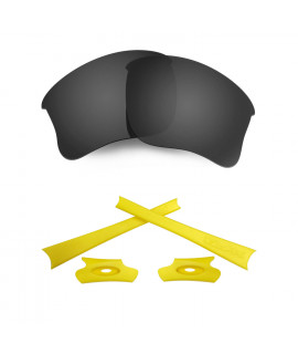 HKUCO For Oakley Flak Jacket XLJ Black Polarized Replacement Lenses And Yellow Earsocks Rubber Kit