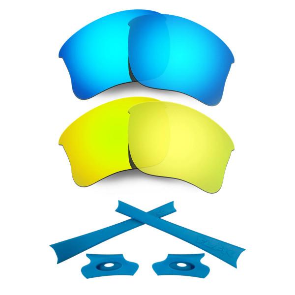 HKUCO For Oakley Flak Jacket XLJ Blue/24K Gold Polarized Replacement Lenses And Blue Earsocks Rubber Kit
