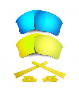 HKUCO For Oakley Flak Jacket XLJ Blue/24K Gold Polarized Replacement Lenses And Yellow Earsocks Rubber Kit