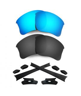 HKUCO For Oakley Flak Jacket XLJ Blue/Black Polarized Replacement Lenses And Black Earsocks Rubber Kit