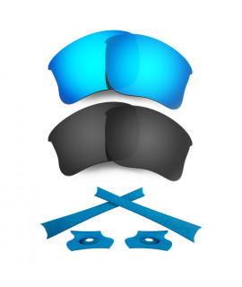 HKUCO For Oakley Flak Jacket XLJ Blue/Black Polarized Replacement Lenses And Blue Earsocks Rubber Kit