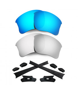 HKUCO For Oakley Flak Jacket XLJ Blue/Silver Polarized Replacement Lenses And Black Earsocks Rubber Kit