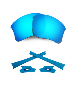 HKUCO For Oakley Flak Jacket XLJ Blue Polarized Replacement Lenses And Blue Earsocks Rubber Kit
