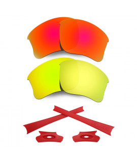 HKUCO For Oakley Flak Jacket XLJ Red/24K Gold Polarized Replacement Lenses And Red Earsocks Rubber Kit