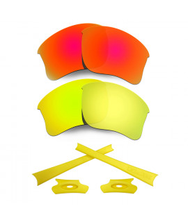 HKUCO For Oakley Flak Jacket XLJ Red/24K Gold Polarized Replacement Lenses And Yellow Earsocks Rubber Kit