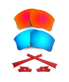HKUCO For Oakley Flak Jacket XLJ Red/Blue Polarized Replacement Lenses And Red Earsocks Rubber Kit