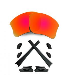 HKUCO For Oakley Flak Jacket XLJ Red Polarized Replacement Lenses And Black Earsocks Rubber Kit