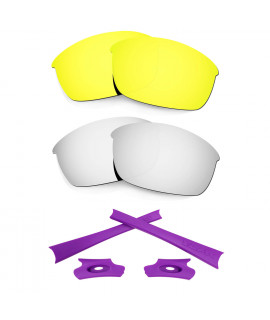 HKUCO 24K Gold/Silver Polarized Replacement Lenses and Purple Earsocks Rubber Kit For Oakley Flak Jacket Sunglasses