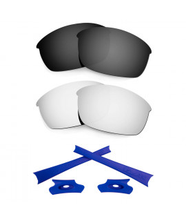 HKUCO For Oakley Flak Jacket Black/Silver Polarized Replacement Lenses And Dark Blue Earsocks Rubber Kit