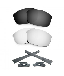 HKUCO For Oakley Flak Jacket Black/Silver Polarized Replacement Lenses And Grey Earsocks Rubber Kit