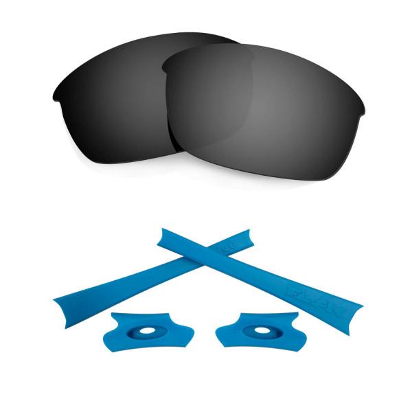 HKUCO For Oakley Flak Jacket Black Polarized Replacement Lenses And Blue Earsocks Rubber Kit