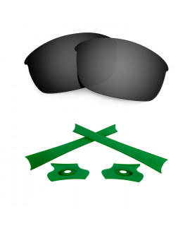 HKUCO For Oakley Flak Jacket Black Polarized Replacement Lenses And Green Earsocks Rubber Kit