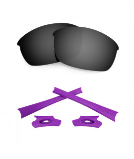HKUCO Black Polarized Replacement Lenses and Purple Earsocks Rubber Kit For Oakley Flak Jacket Sunglasses
