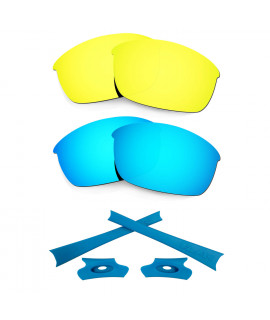 HKUCO For Oakley Flak Jacket Blue/24K Gold Polarized Replacement Lenses And Blue Earsocks Rubber Kit