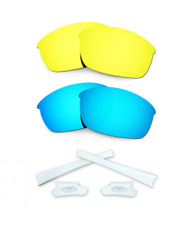 HKUCO Blue/24K Gold Polarized Replacement Lenses and White Earsocks Rubber Kit For Oakley Flak Jacket Sunglasses
