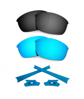 HKUCO For Oakley Flak Jacket Blue/Black Polarized Replacement Lenses And Blue Earsocks Rubber Kit