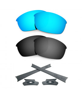HKUCO For Oakley Flak Jacket Blue/Black Polarized Replacement Lenses And Grey Earsocks Rubber Kit