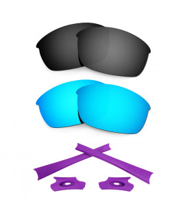 HKUCO Blue/Black Polarized Replacement Lenses and Purple Earsocks Rubber Kit For Oakley Flak Jacket Sunglasses