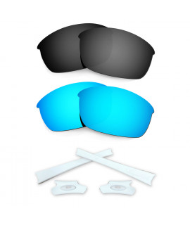 HKUCO Blue/Black Polarized Replacement Lenses and White Earsocks Rubber Kit For Oakley Flak Jacket Sunglasses